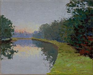 17. Diana Ozolins Dawn Over the Erie Canal Oil on canvas Retail value $250