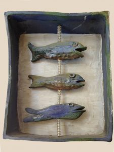 "2. Mary Ann Bowman  Three Fish Glazed stoneware  12"" x 8"" x 3.5""  Retail value $275"