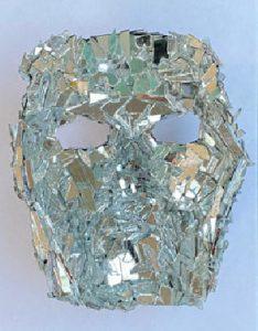 """Terrell Harris, Jr. • <em>Fractured</em> • Flour, black paint, glass mirror • 6""""×8""""×5"""" • NFS"""