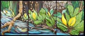 "Marjorie Hoffman • <em>Skunk Cabbage by the Stream</em> • Mosaic • 51""×21"" • $2,700"