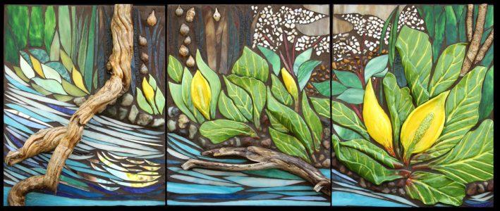 "Marjorie Hoffman • <em>Skunk Cabbage by the Stream</em> • Mosaic • 51""×21"" • NFS"