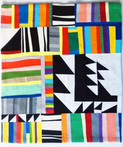 "Becky McNeill • <em>Mixed Emotions</em> • Quilted fabric • 37""×39"" • $400"