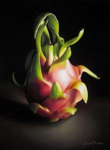 """Sangita  Phadke • <em>Queen of the Dragon Fruit</em> • Pastel • 11""""×14"""" • NFS"""