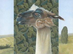 "Karen Ackoff • <em>Riatta: Portrait of a Llama</em> • Egg tempura on panel • 8""×6"" • NFS"