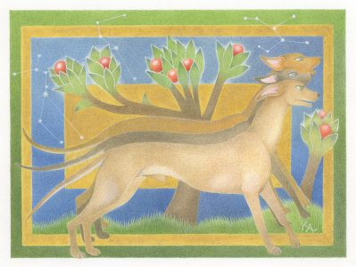 """Karen Ackoff • <em>Three Dogs</em> • Watercolor and acrylic • 6""""×5"""" • $1,700.00"""
