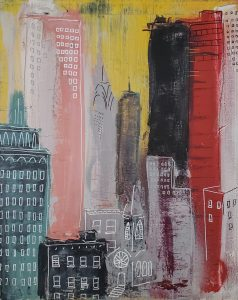 "Sam Binder • <em>Skyline No. 8 (Windows)</em> • Spray paint and graffiti marker • 16""×20"" • $300.00"