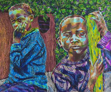 "Heidi Brueckner • <em>Siblings with Mud House</em> • Oil, acrylic, paper on canvas • 42""×35"" • $2,000.00"