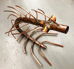 """Paul Chepolis • <em>Sluice</em> • Copper, 5% silver braze • 16""""×24""""×22"""" • $2,500.00"""