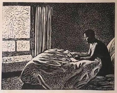 "Cynthia Cratsley • <em>Morning Light</em> • Linocut • 10""×8"" • $300.00"