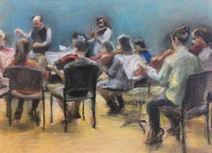 "Jian Cui • <em>The Youth Orchestra</em> • Pastel • 12""×9"" • NFS"