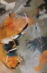 """Patty Dawson-Elli • <em>Orange Meander</em> • Acrylic on wood panel • 24""""×36"""" • $545.00"""