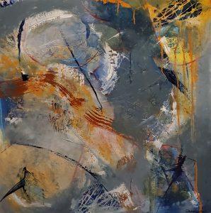 """Patty Dawson-Elli • <em>Planetary Motions</em> • Acrylic on wood panel • 24""""×24"""" • $790.00"""