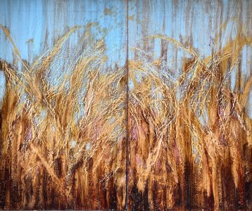 """Victoria J. Fry • <em>Wheat Field in Spring</em> • Beeswax and oil on wood • 72""""×60"""" • $4,500.00"""