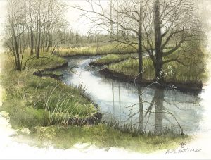 "Gail Guth • <em>Early May, Cedar Creek</em> • Watercolor and gouache • 15""×11"" • NFS"