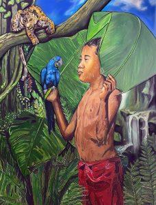 "Leslie Jusino • <em>fluvio</em> • Acrylic on canvas • 36""×48"" • $22,500.00"