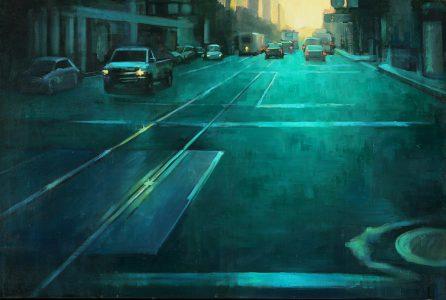 "Erica Norelius • <em>Market Street in Green</em> • Oil on canvas • 34""×24"" • $3,200.00"