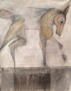 "Ian Ratowsky • <em>Ghost Horse 7</em> • Mixed media on canvas • 56""×68"" • $17,000"