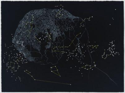 "Susan Weisend • <em>Lantern</em> • Etching, gouache, prismacolor • 33""×26"" • $1,200.00"