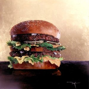 "Duke Windsor • <em>""Two-All-Beef-Patties…""</em> • Acrylic and gold leaf • 16""×16"" • $2,056"