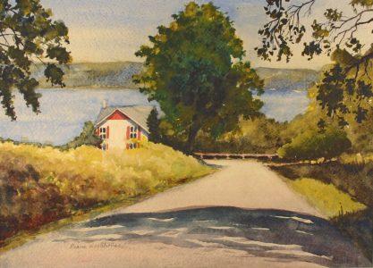 "Diane Woodhouse • <em>Keuka Lake Eastside</em> • Watercolor • 20""×16"" • $250.00"