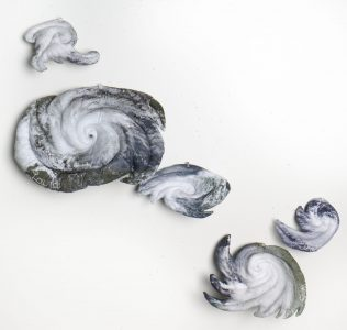 """Christine Chin • <em>Stuffed Storms: 2020 Atlantic Tropical Storm Season</em> • Stuffed and quilted archival ink prints on fabric • $2,500.00<a class=""""purchase"""" href=""""https://state-of-the-art-gallery.square.site/shop/christine-chin/33"""" target=""""_blank"""">Buy</a>"""