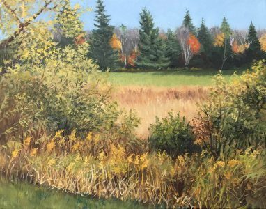"""Patty Porter • <em>Stilwell Road Amble</em> • Oil on canvas • 14""""×11"""" • $250.00<a class=""""purchase"""" href=""""https://state-of-the-art-gallery.square.site/product/patty-porter-stilwell-road-amble/228?cp=true&sa=false&sbp=false&q=false&category_id=32"""" target=""""_blank"""">Buy</a>"""