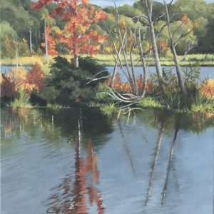 "Patty Porter • <em>Teeter Pond 2020</em> • Oil on canvas • 12""×24"" • $550.00 • <a class=""purchase"" href=""https://state-of-the-art-gallery.square.site/product/patty-porter-teeter-pond-2020/229?cp=true&sa=false&sbp=false&q=false&category_id=32"" target=""_blank"">Buy</a>"