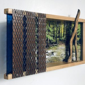 "Eva M. Capobianco • <em>FLT – Map 12, Stream Crossing II</em> • Mixed media • 17""×11""×5"" • $425.00 • <a class=""purchase"" href=""https://state-of-the-art-gallery.square.site/product/eva-m-capobianco-flt-map-12-stream-crossing-ii/271"" target=""_blank"">Buy</a>"
