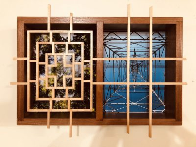 """Eva M. Capobianco • <em>FLT – Map 19, Looking Up - Trees and Tower</em> • Photos and re-used wood • 20""""×15""""×3"""" • $425.00<a class=""""purchase"""" href=""""https://state-of-the-art-gallery.square.site/product/eva-m-capobianco-flt-map-19-looking-up-trees-and-tower/276"""" target=""""_blank"""">Buy</a>"""