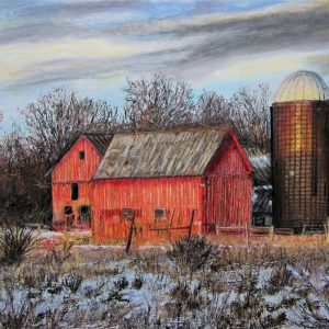 "Ed Brothers • <em>Barn 1</em> • Oil pastel • 11½""×8½"" • NFS"