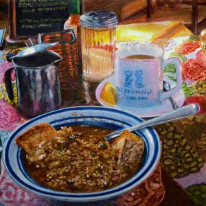 "Ed Brothers • <em>Lunch in Progress</em> • Oil pastel • 11½""×8½"" • NFS"