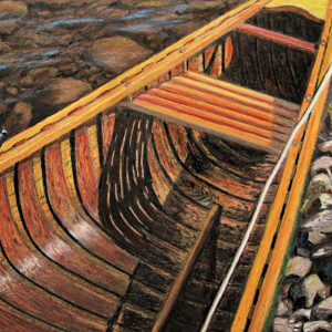 "Ed Brothers • <em>Salmon Brook Canoe</em> • Oil pastel • 11½""×8½"" • NFS"
