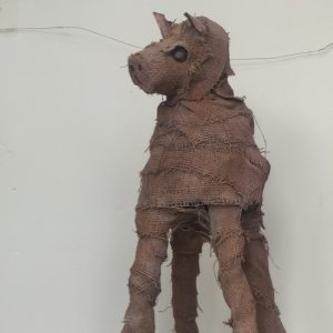"Mary Ann Bowman • <em>Horse</em> • Wood, burlap • 12""×30""×14"" • $650.00 • <a class=""purchase"" href=""https://state-of-the-art-gallery.square.site/product/mary-ann-bowman-horse/297"" target=""_blank"">Buy</a>"