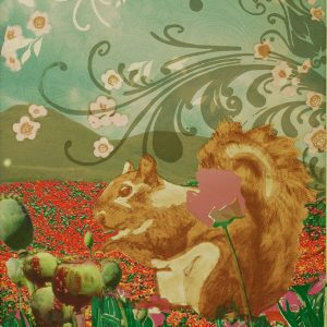 "Patricia Hunsinger • <em>Poppy Squirrel</em> • Screenprint, archival ink • 24¼""×32½"" • $300.00 • <a class=""purchase"" href=""https://state-of-the-art-gallery.square.site/product/patricia-hunsinger-poppy-squirrel/288"" target=""_blank"">Buy</a>"