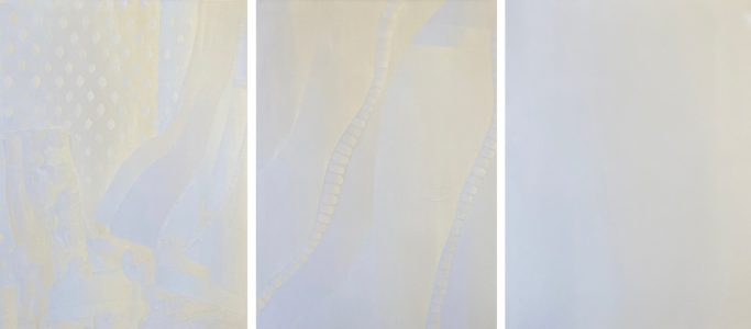"""Frances Fawcett • <em>Illustration for the Steven's poem 'The Curtains in the House of the Metaphysician'</em> • Triptych, acrylic on canvas • 90""""×36"""" • NFS"""