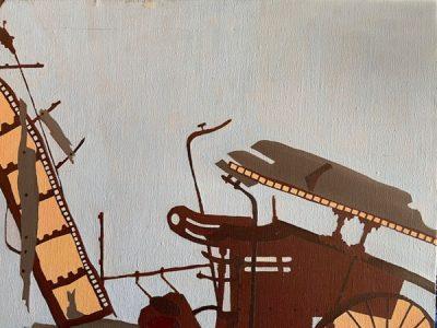 "Frances Fawcett • <em>Sketch for ""Machine in Field""</em> • Acrylic on canvas • NFS"