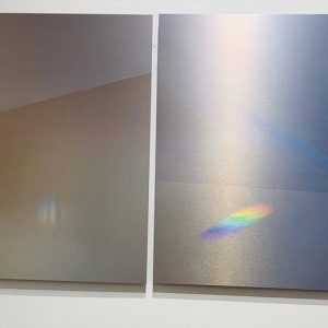 "Connie Zehr • <em>Spectral Projections: On the Wall</em> • Metal print diptych • 40""×20"" • NFS"