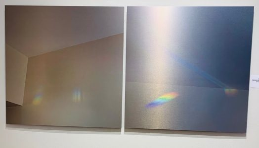 """Connie Zehr • <em>Spectral Projections: On the Wall</em> • Metal print diptych • 40""""×20"""" • NFS"""