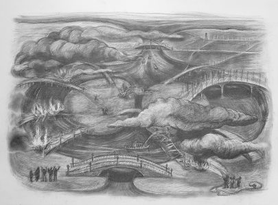 "Kim Schrag • <em>Burning Bridges</em> • Graphite on paper • 33½""×25½"" • $1,500.00<a class=""purchase"" href=""https://state-of-the-art-gallery.square.site/product/kim-schrag-burning-bridges/358"" target=""_blank"">Buy</a>"