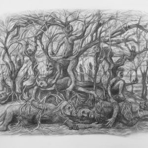 """Kim Schrag • <em>Family Tree</em> • Graphite on paper • 33½""""×25½"""" • $1,500.00 • <a class=""""purchase"""" href=""""https://state-of-the-art-gallery.square.site/product/kim-schrag-family-tree/359"""" target=""""_blank"""">Buy</a>"""