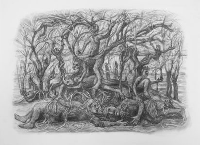 """Kim Schrag • <em>Family Tree</em> • Graphite on paper • 33½""""×25½"""" • $1,500.00<a class=""""purchase"""" href=""""https://state-of-the-art-gallery.square.site/product/kim-schrag-family-tree/359"""" target=""""_blank"""">Buy</a>"""