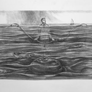 """Kim Schrag • <em>Rising Water</em> • Graphite on paper • 33½""""×25½"""" • $1,500.00 • <a class=""""purchase"""" href=""""https://state-of-the-art-gallery.square.site/product/kim-schrag-rising-water/356"""" target=""""_blank"""">Buy</a>"""