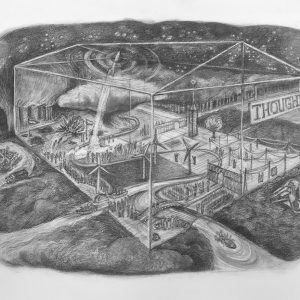 """Kim Schrag • <em>Thought</em> • Graphite on paper • 33½""""×25½"""" • $1,500.00 • <a class=""""purchase"""" href=""""https://state-of-the-art-gallery.square.site/product/kim-schrag-thought/357"""" target=""""_blank"""">Buy</a>"""