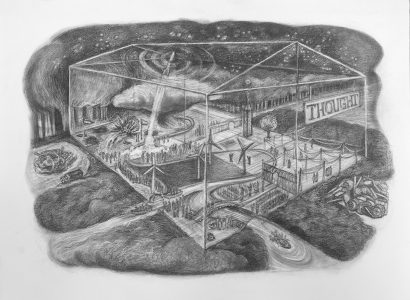 """Kim Schrag • <em>Thought</em> • Graphite on paper • 33½""""×25½"""" • $1,500.00<a class=""""purchase"""" href=""""https://state-of-the-art-gallery.square.site/product/kim-schrag-thought/357"""" target=""""_blank"""">Buy</a>"""
