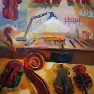 Irina Kassabova • <em>The Light of the Luthier</em> • Oil on canvas • $630.00