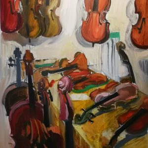 Irina Kassabova • <em>To the Luthier</em> • Oil on canvas • $630.00