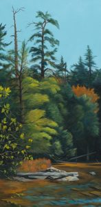 """Patty L Porter • <em>From Blue Berry Island</em> • Oil on canvas • 19¾""""×37½"""" • $1,100.00<a class=""""purchase"""" href=""""https://state-of-the-art-gallery.square.site/product/patty-l-porter-from-blue-berry-island/421"""" target=""""_blank"""">Buy</a>"""