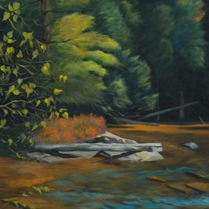 "Patty L Porter • <em>From Blue Berry Island</em> • Oil on canvas • 19¾""×37½"" • $1,100.00"
