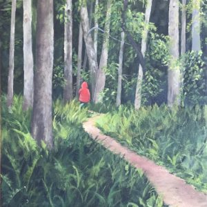 "Patty L Porter • <em>Monkey Run Red</em> • Oil on canvas • 19¾""×37½"" • $1,100.00"