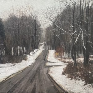 Diane Newton • <em>Late Winter, Spencer, New York</em> • Pastel on black Arches paper • NFS